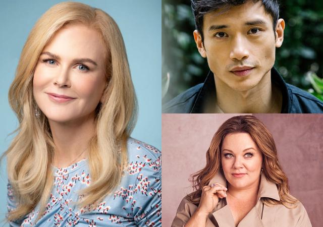 Imagem com o elenco de Nine Perfect Strangers: Nicole Kidman, Manny Jacinto e Melissa McCarthy