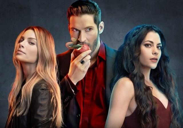 Lucifer, Chloe e Eva no poster da série Lucifer