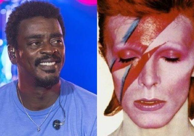Seu Jorge sorri e usa blusa azul e David Bowie posa com um raio pintado no rosto
