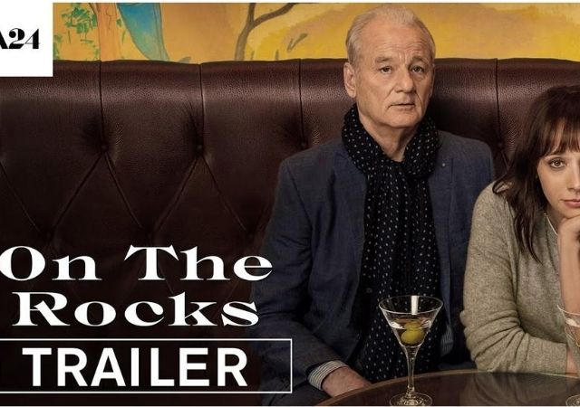 Imagem mostra banner de On The Rocks, com Bill Murray e Rashida Jones
