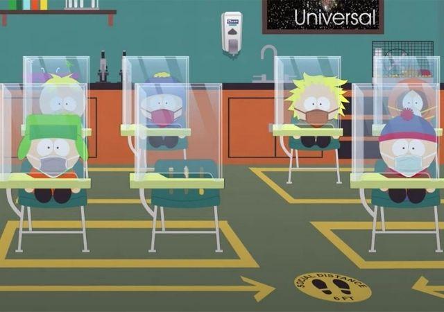Alunos de South Park sentam me classes isolados com vidro